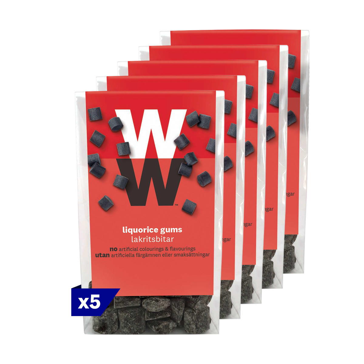 5 packs, WW Liquorice Sweets, intense liquorice flavour, 3 SmartPoints values per portion (half a bag), perfect for sharing, suitable for vegetarians
