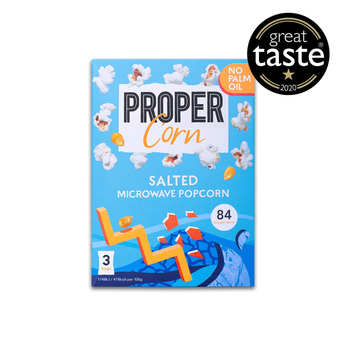 Propercorn Salted Microwave Popcorn, 3x 70g bags of salted microwavable popcorn, no palm oil, 3 SmartPoints values per serving, gluten free, suitable for vegans