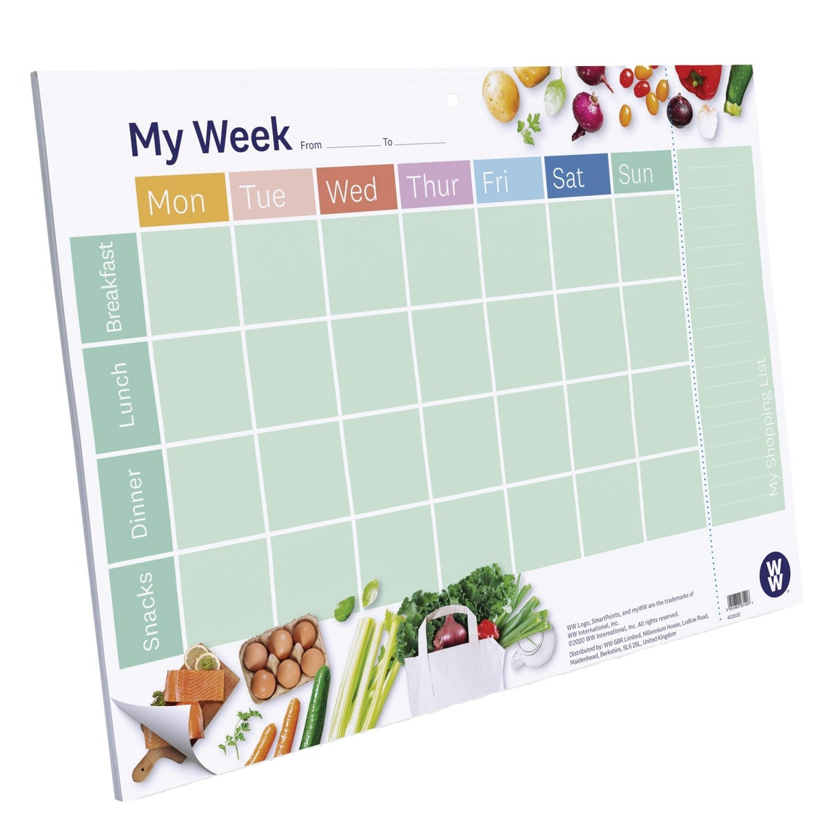 A4-sized WW Meal Planner Pad, tear-off shopping list section, landscape card backed paper pad with 24 tear-off sheets, hole in the centre to hang it up