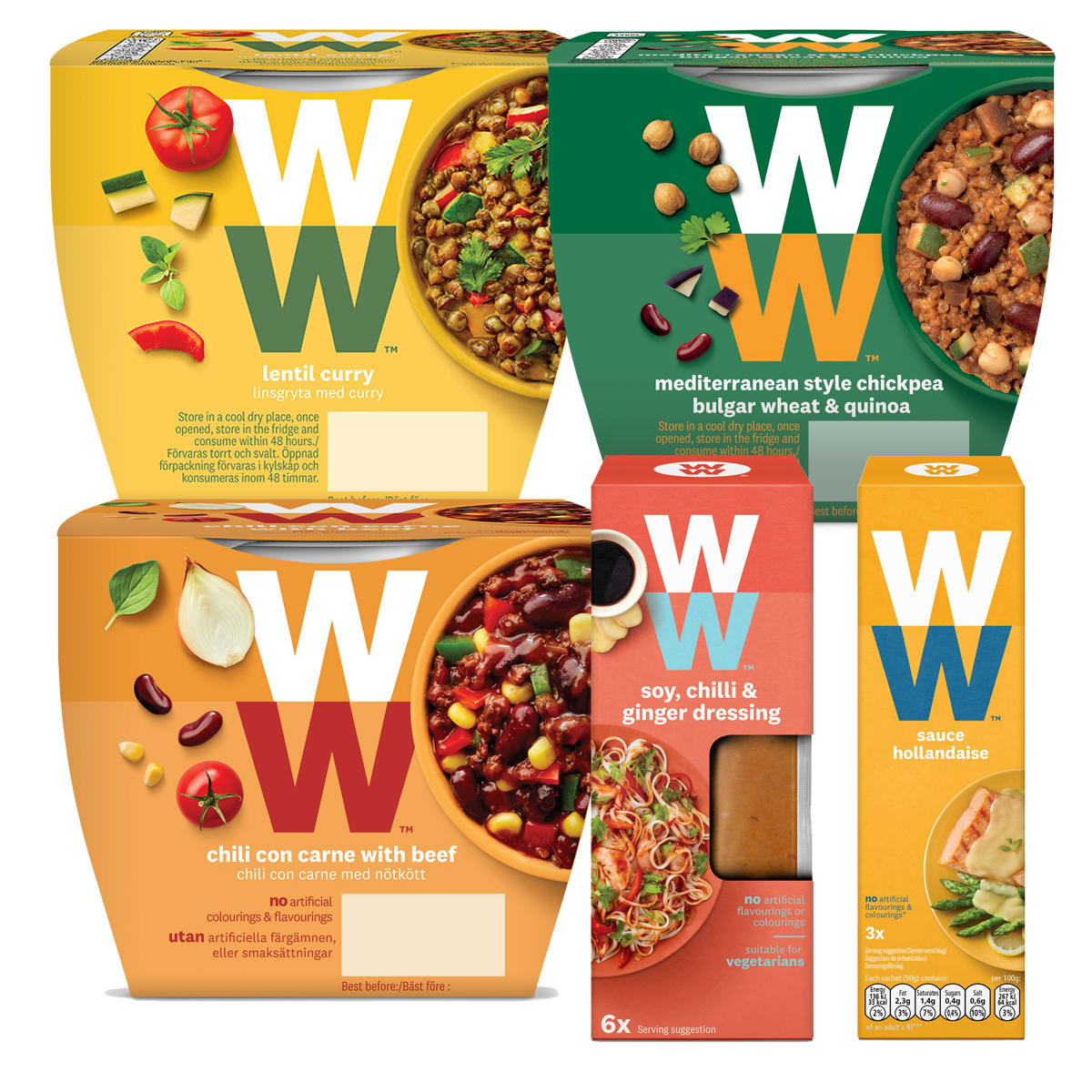 WW Meal Solutions Value Bundle, Mediterranean Style Chickpea Bulgur Wheat and Quinoa, Chilli Con Carne with Beef, Lentil Curry, Hollandaise Sauce, Soy, Chilli and Ginger Dressing