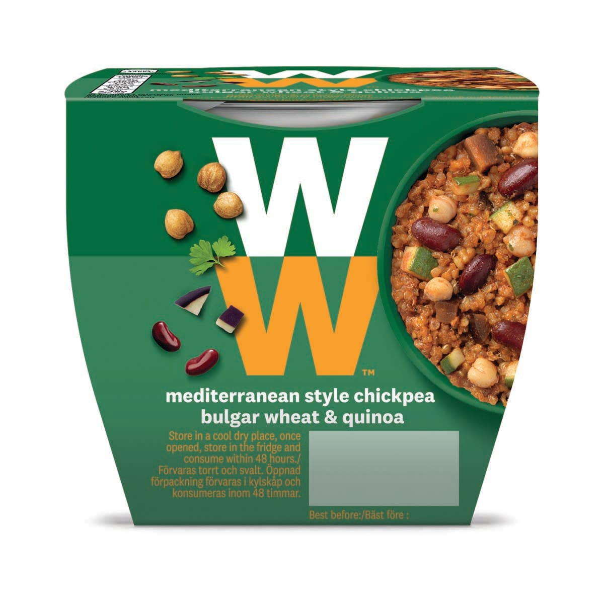 WW Mediterranean Style Chickpea Bulgar Wheat and Quinoa, quick and fuss-free meal, 2 minutes to cook, suitable for vegans