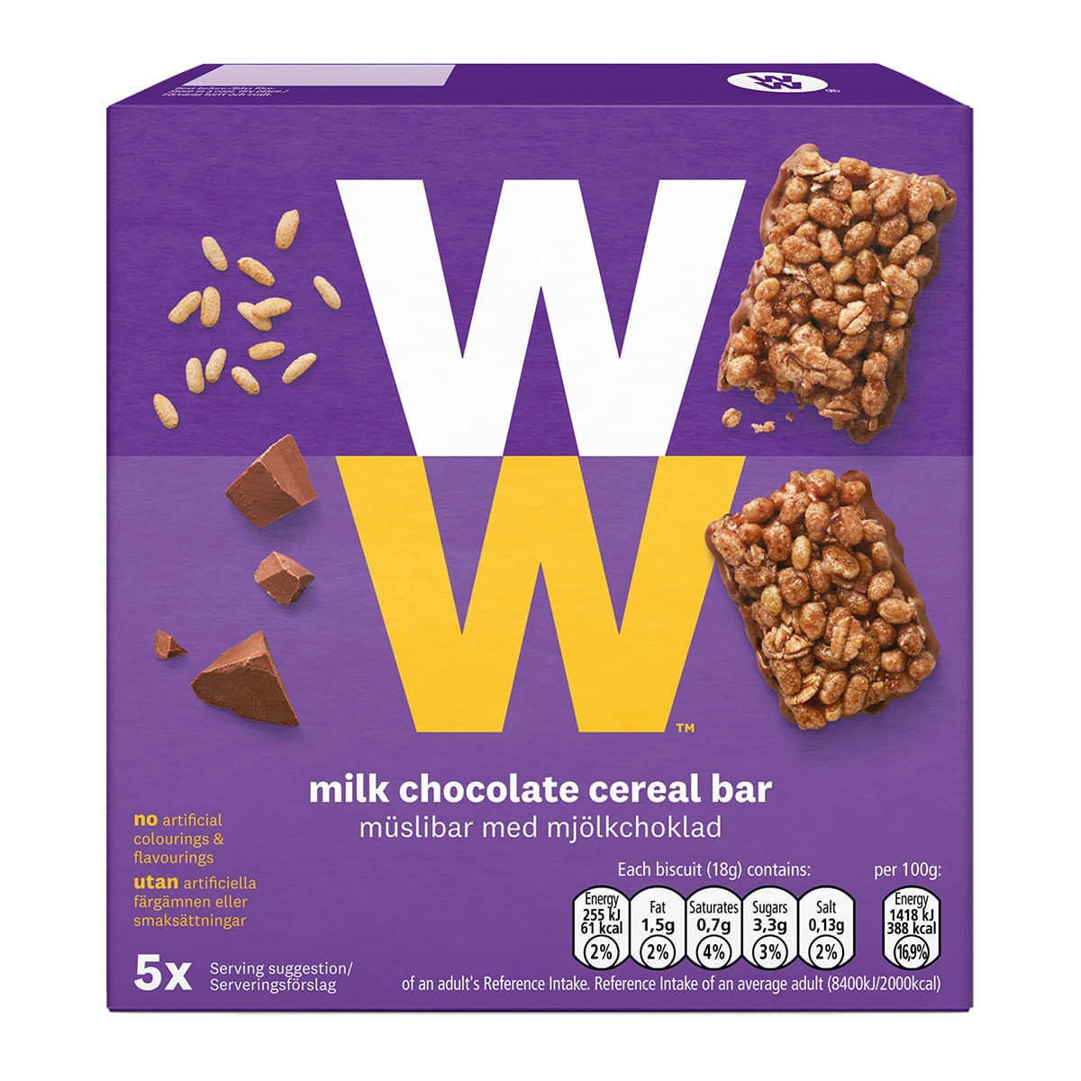 Box of 5, WW Milk Chocolate Cereal Bars, wholemeal crispies, 2 SmartPoints values, suitable for vegetarians