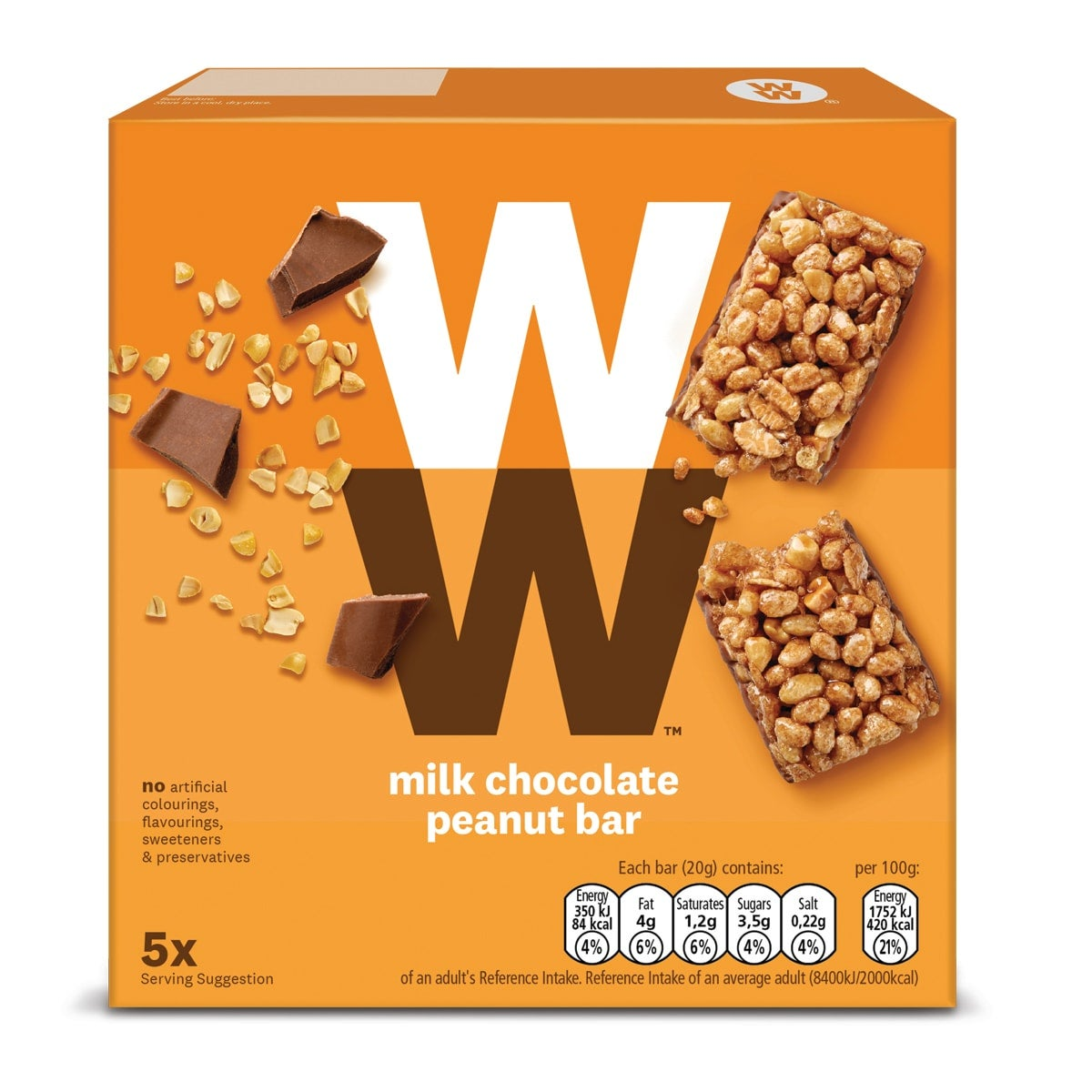 Box of 5, WW Milk Chocolate Peanut Bar, mixed cereal bar with chopped and roasted peanuts, dipped in milk chocolate, 3 SmartPoints values, suitable for vegetarians