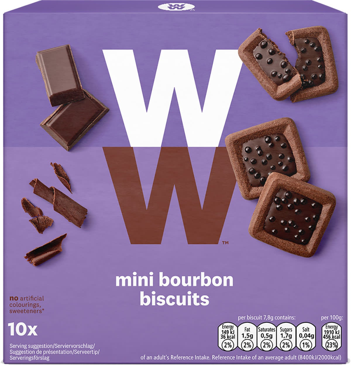 Box of 10 bite-sized, multigrain WW Mini Bourbon Biscuits, individually-wrapped, 1 SmartPoint value each, suitable for vegetarians, on the go treat