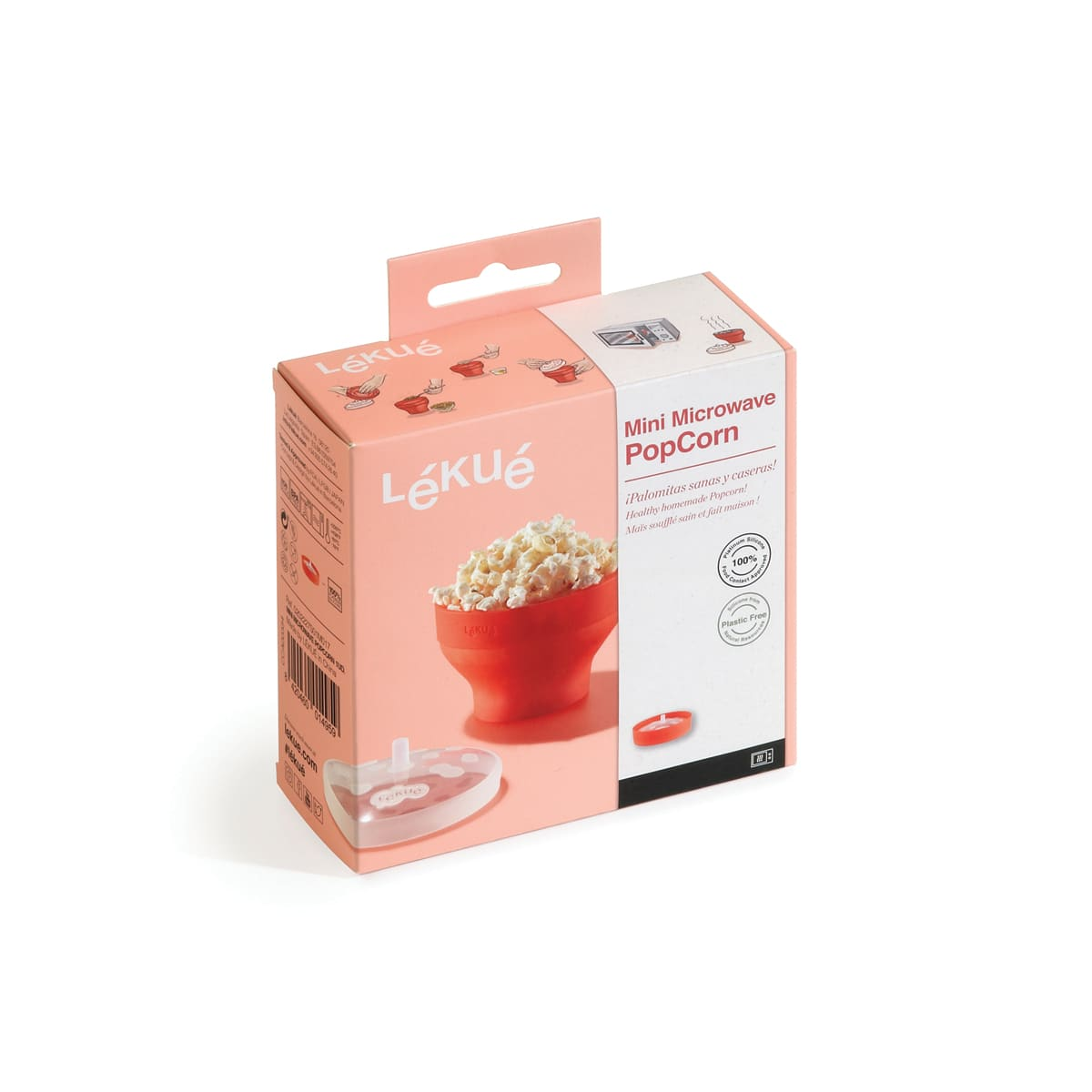 Lekue Mini Microwave Popcorn Popper, homemade popcorn in 3 minutes, can be folded, 100% Silicone Platinum, suitable for microwave, dishwasher, fridge, capacity 2800 ml