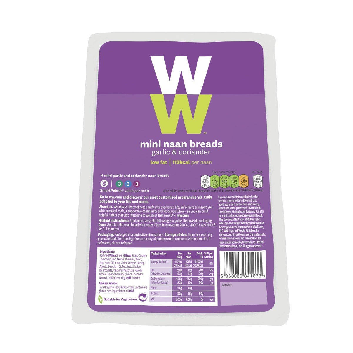 Pack of 4, WW Mini Garlic and Coriander Naan Bread, made with kalonji black onion seeds, perfect with a takeaway, 3 SmartPoints values, suitable for vegetarians,