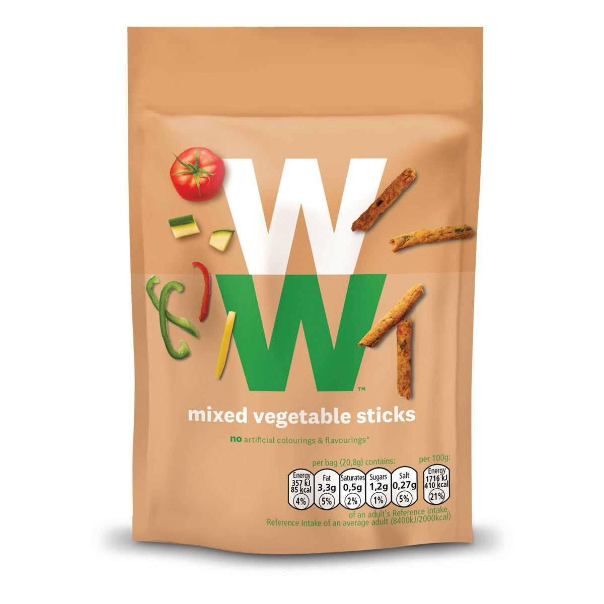 WW Mixed Vegetable Sticks, made with tomato, peppers, courgette and aubergine with extra virgin olive oil, crunchy, 2 SmartPoints values, suitable for vegans