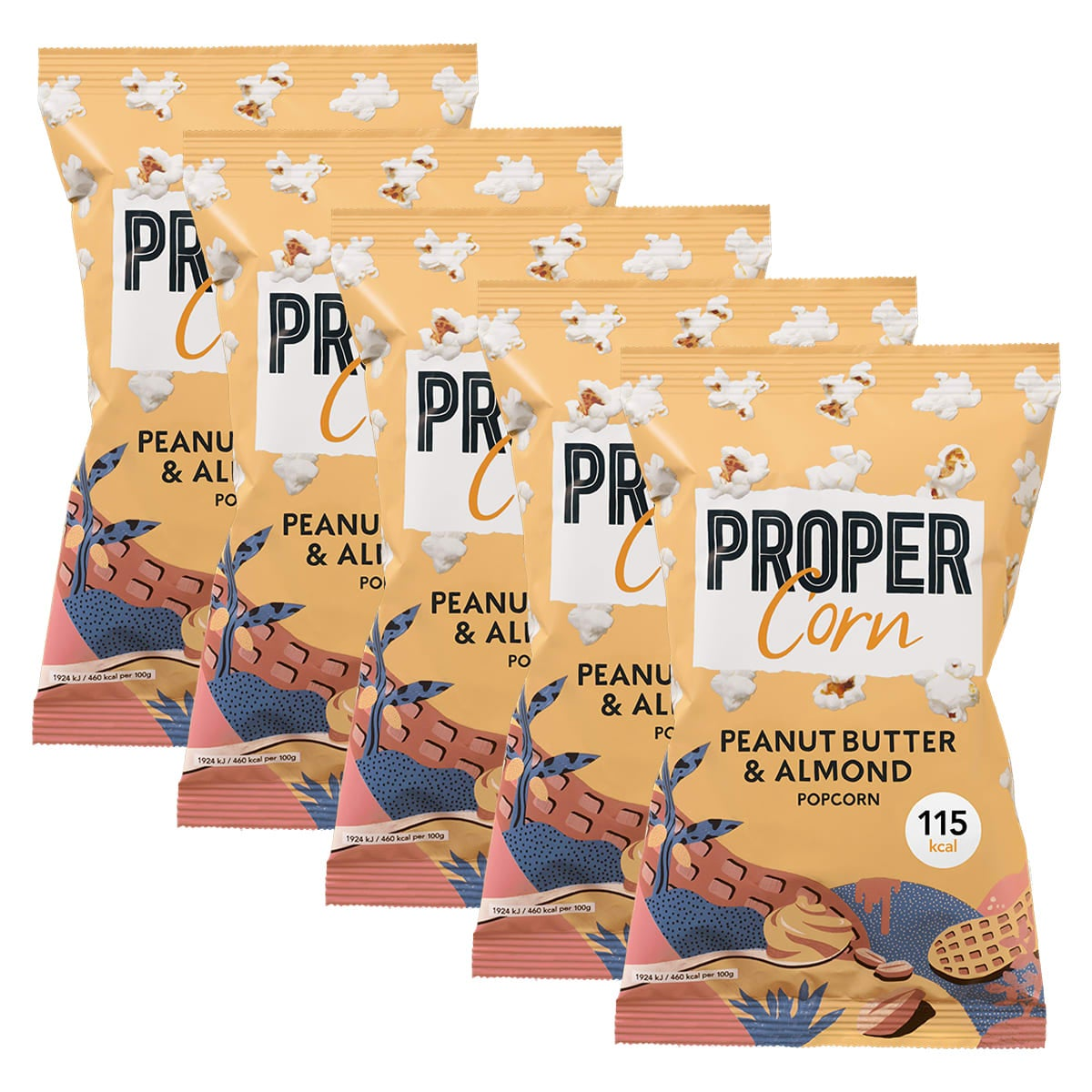 Propercorn - Peanut Butter and Almond Popcorn Box of 24