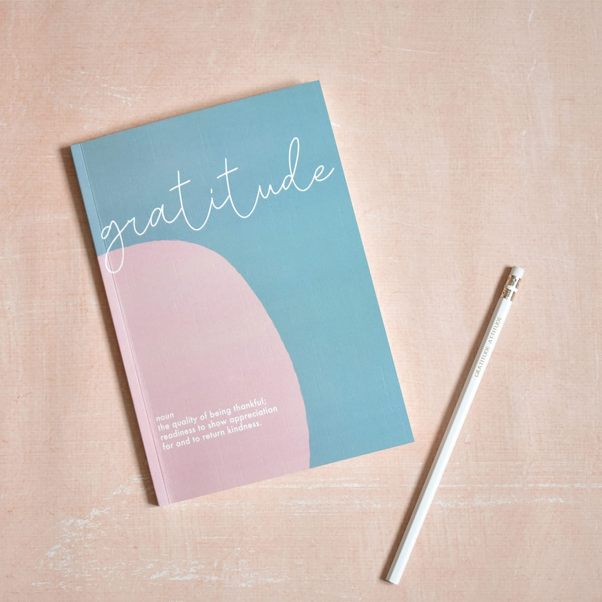 Gratitude Journal, 100 x 100gsm FSC-certified pages, 270gsm textured cover, size A5, record three things you are grateful for each day, space for you to write