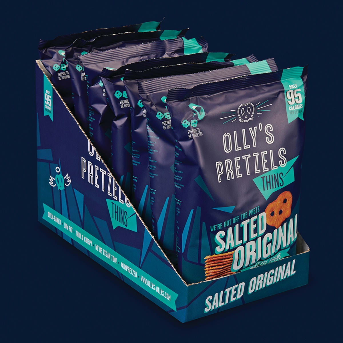 Box of 10, Olly's Salted Pretzel Thins, 35g, thin, crispy, 80% less fat and 45% fewer calories than average potato crisps, oven-baked, 3 SmartPoints values, suitable for vegans