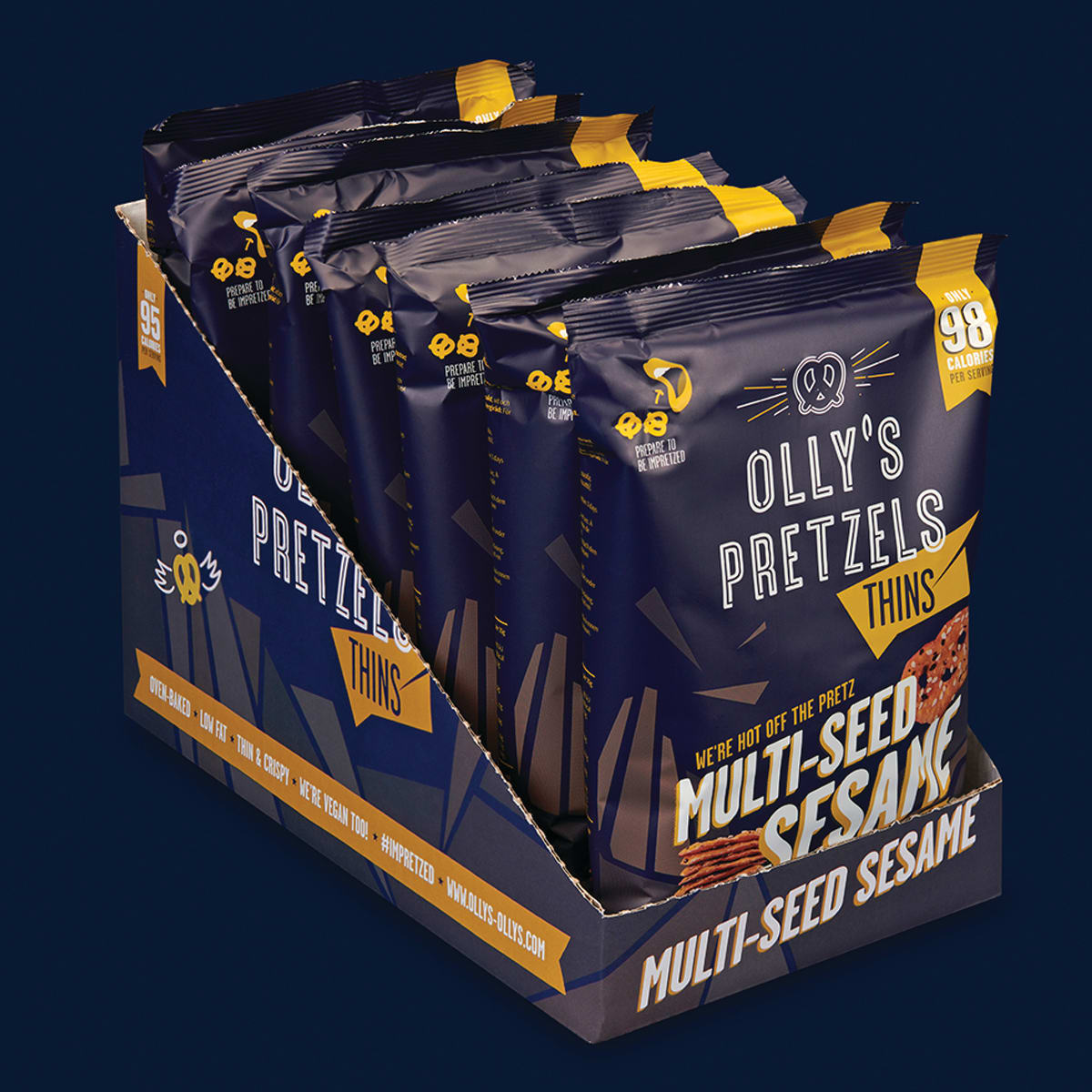 Box of 10, Olly's Sesame Pretzel Thins, oven-baked, suitable for vegans, 98 calories per pack, 80% less fat and 45% fewer calories than average potato crisps