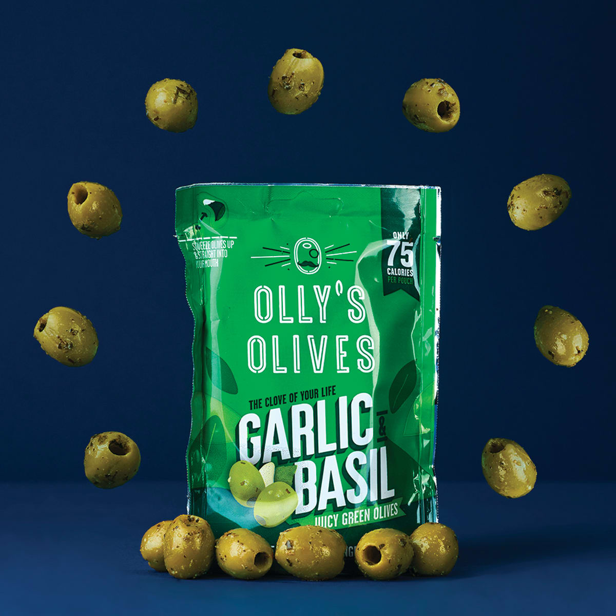 Olly's Garlic & Basil Olives 50g, 75 calories, classic marinade of garlic and basil, no messy oils and no stones, snack pack, gluten free, suitable for vegans