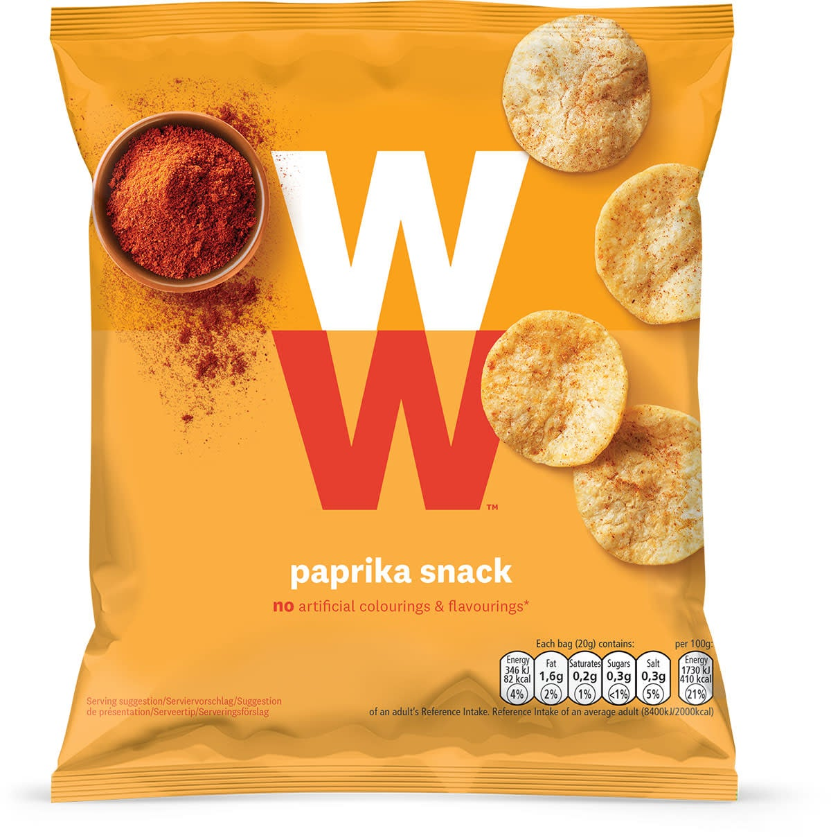 WW Crunchy potato based snack, paprika flavoured, baked not fried, only 2 SmartPoints values per bag, light and tasty, suitable for vegans