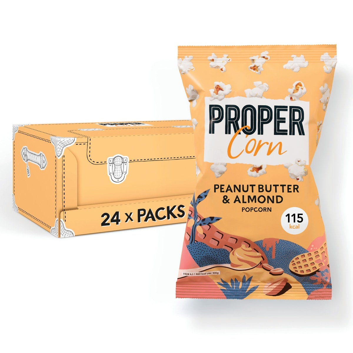 Box of 24, Propercorn Peanut Butter and Almond Popcorn, 25g bag, smooth blend of peanut and almond, 4 SmartPoints values per bag, gluten free, suitable for vegans