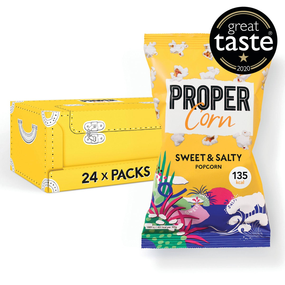 Box of 24, Propercorn Sweet and Salty Popcorn, 30g bag, sea salt and sweet raw cane sugar, 5 SmartPoints values per bag, gluten free, suitable for vegans