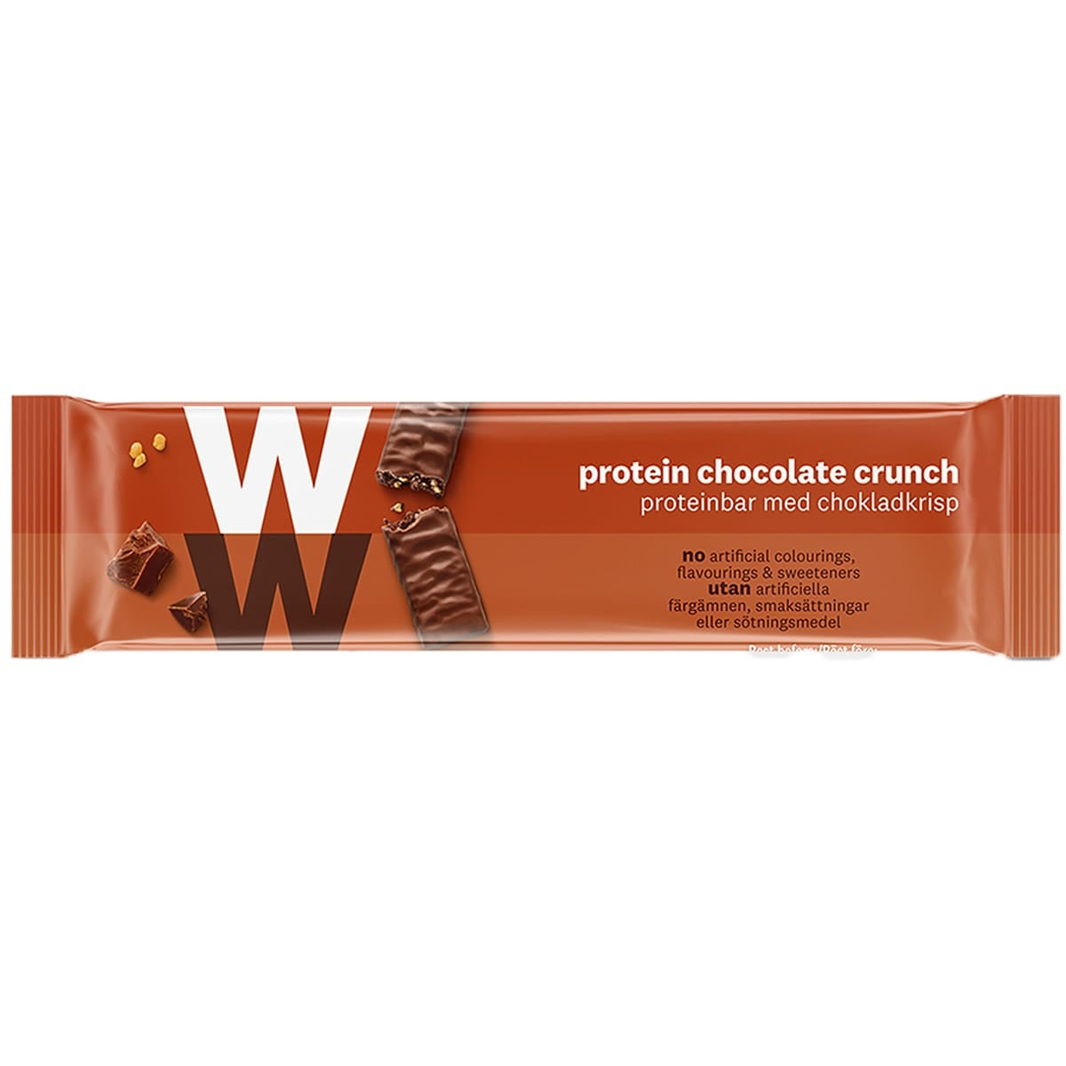 WW Protein Chocolate Crunch Bar, wrapped in velvety milk chocolate, 2 SmartPoints values, high in protein, suitable for vegetarians