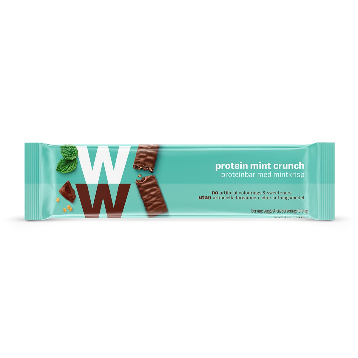 WW Protein Mint Crunch Bar, wrapped in velvety milk chocolate, 2 SmartPoints values, high in protein, suitable for vegetarians