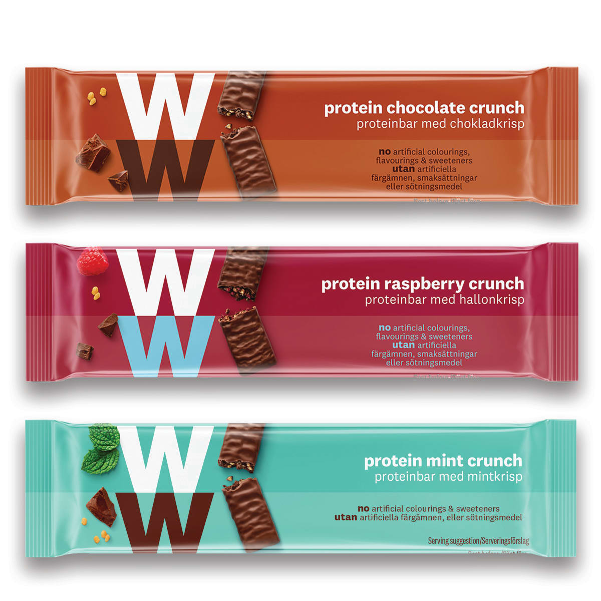 WW Protein Bar Trio, includes Protein Mint Crunch Bar, Protein Chocolate Crunch Bar, Protein Raspberry Crunch Bar, 2 SmartPoints values per bar