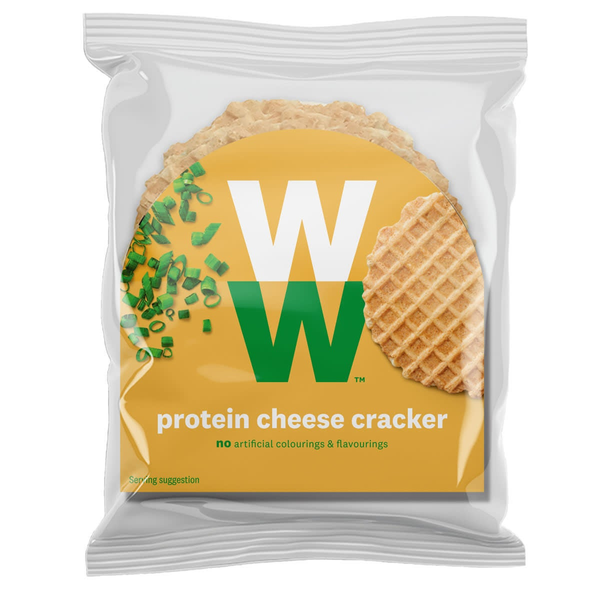 Crunchy with a deliciously cheesy flavour WW Protein Cheese Crackers, delicious on its own or with a topping, 2 SmartPoints values per portion, suitable for vegetarians