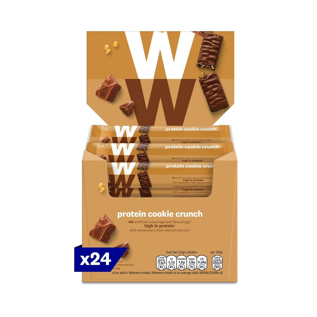 Box of 24, WW Protein Cookie Crunch Bar, wrapped in velvety milk chocolate, 2 SmartPoints values, high in protein, suitable for vegetarians