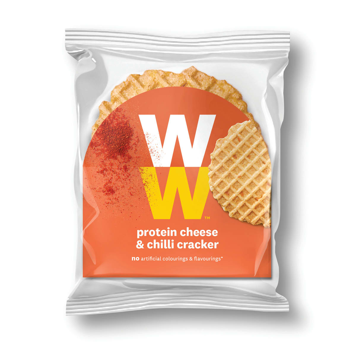 Crunchy with a deliciously cheesy and chilli flavour WW Protein Cheese Crackers, delicious on its own or with a topping, 2 SmartPoints values per portion, suitable for vegetarians