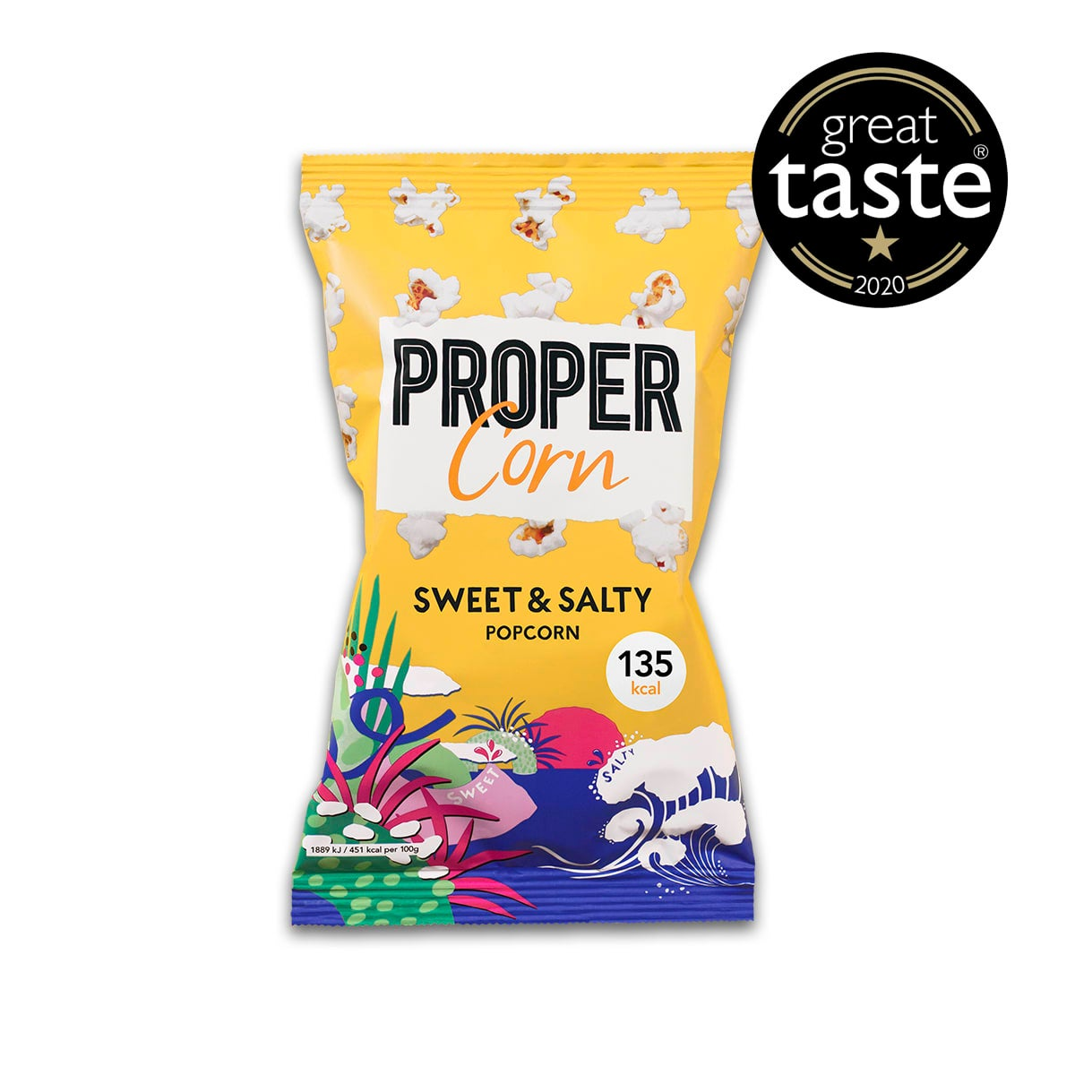 Propercorn Sweet and Salty Popcorn, 30g bag, sea salt and sweet raw cane sugar, 5 SmartPoints values per bag, gluten free, suitable for vegans