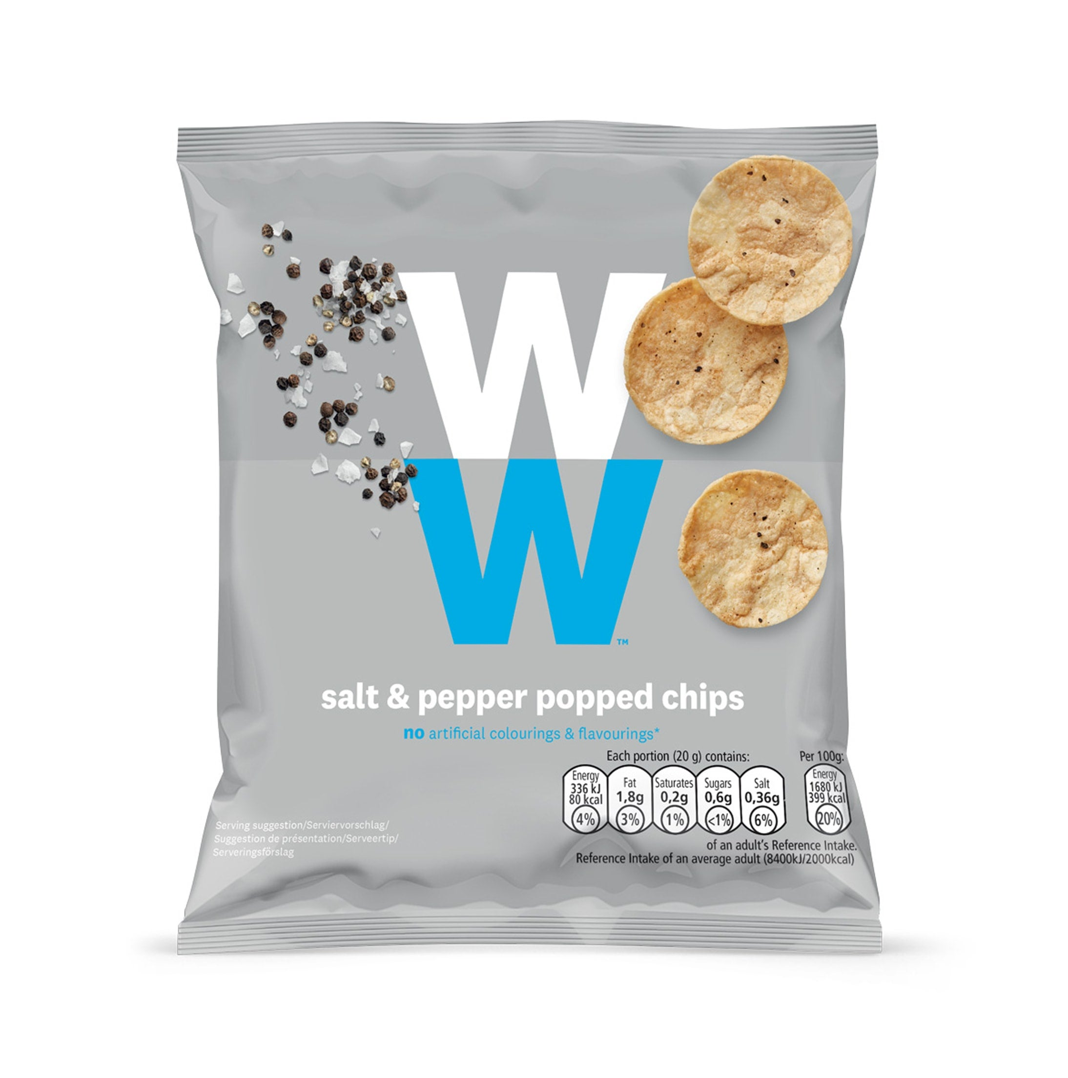 WW Salt & Pepper Popped Chips, salt and pepper flavour, soya and chickpea, baked not fried, 2 SmartPoints values, suitable for vegans