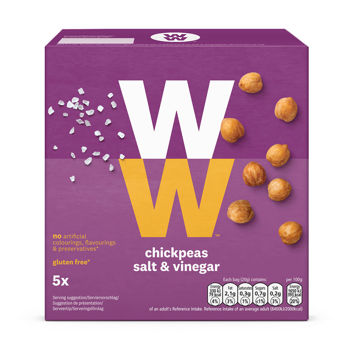WW Salt and Vinegar Chickpeas, crunchy bite sized snack, high in protein, 2 SmartPoints values, suitable for vegans