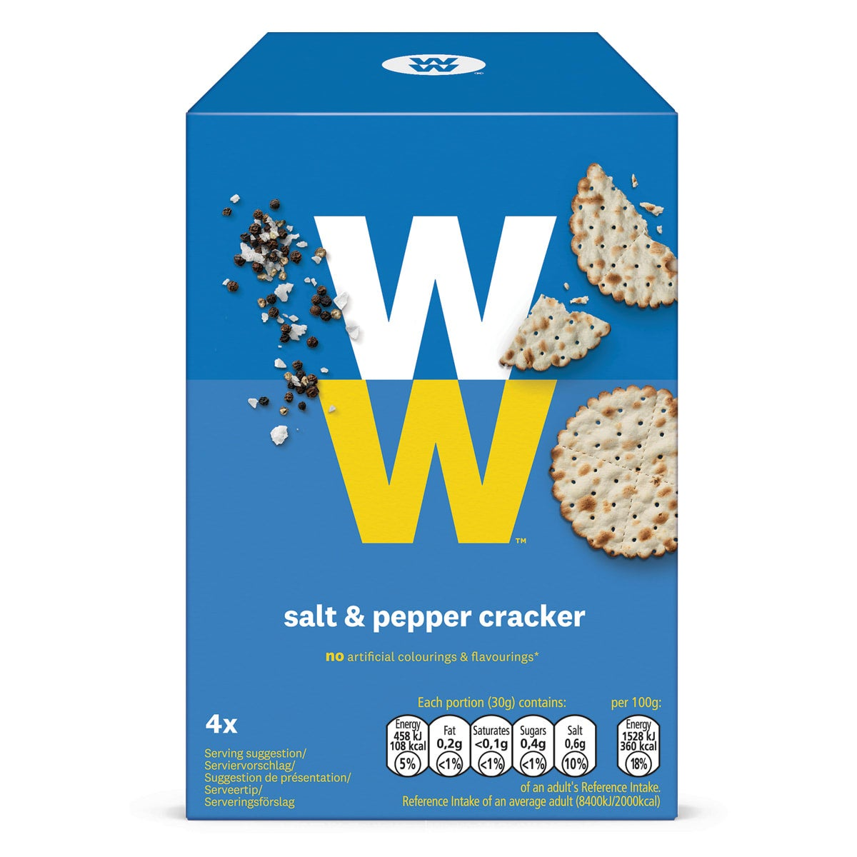 WW Salt and Pepper Crackers, crunchy wheat, on their own or with a favourite topping, 3 SmartPoints per 30g portion, suitable for vegans