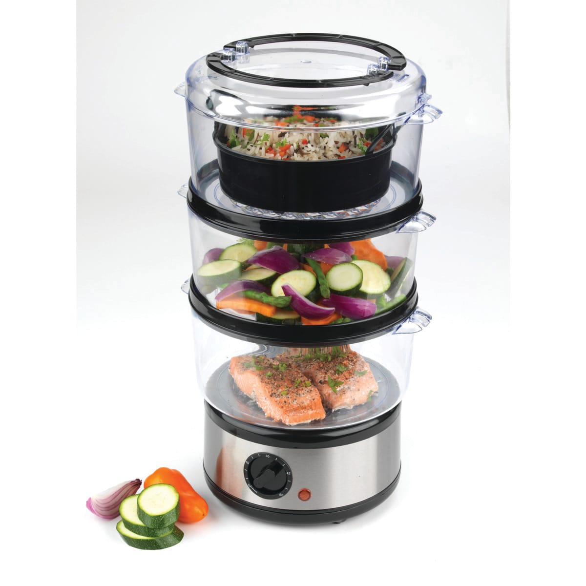 Salter 3 Tier Steamer, each bowl is removable so you can cook using one, two or three tiers, measures 20l x 23w x 41h cm, large water reservoir, a 60 minute timer