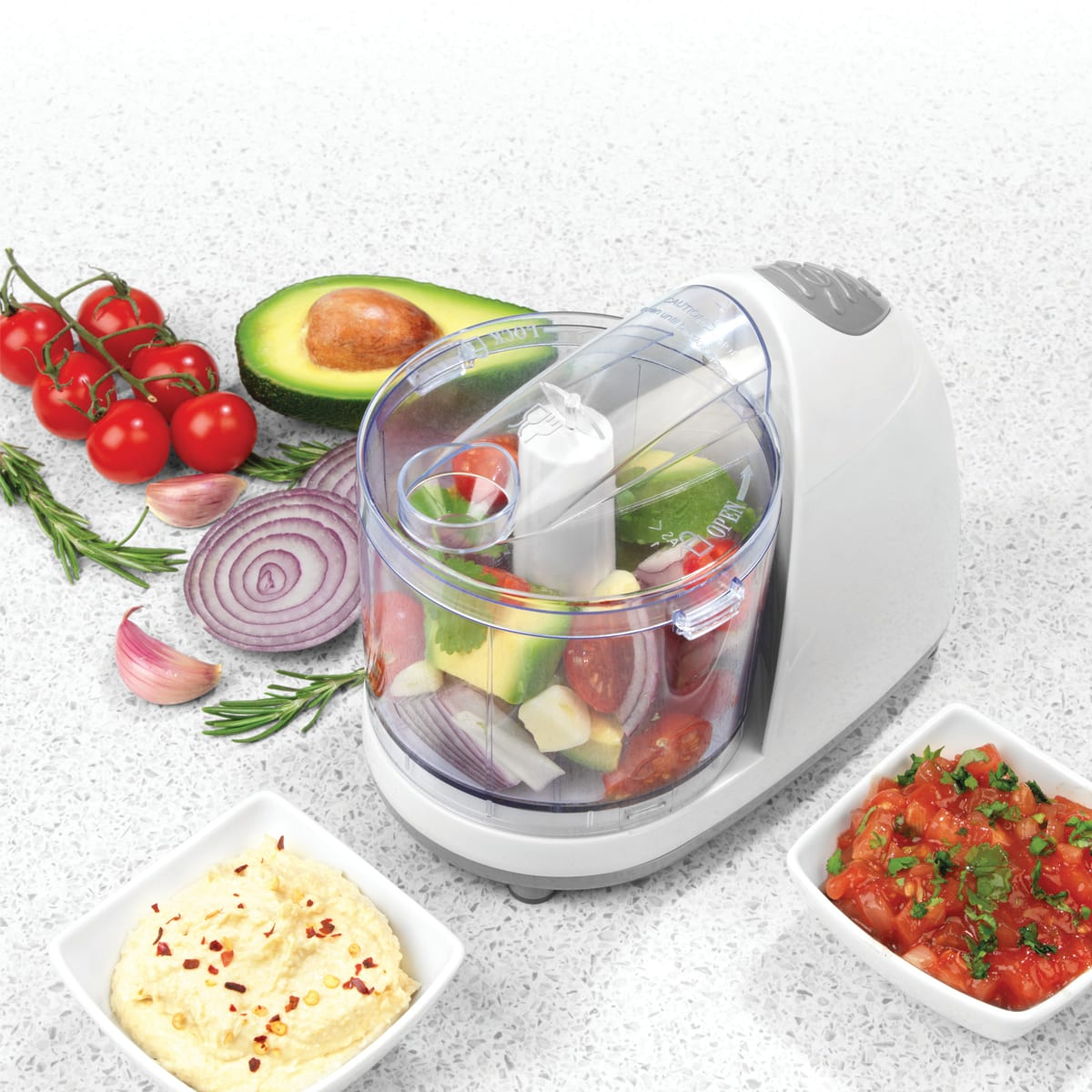 Salter Mini Food Chopper, one touch operation, steel blade cuts meat, vegetables and nuts, 350 ml capacity, 150 W powered blades