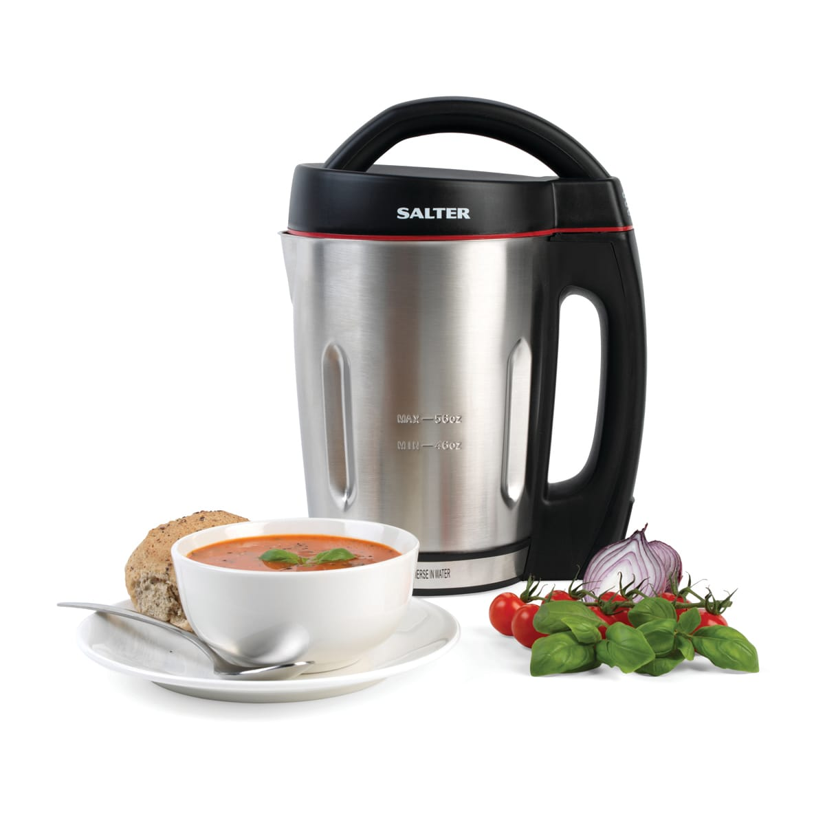 Salter Soup Maker, three automatic settings; puree, chunky and blend, capacity of 1600 ml, intelligent control system will prevent overspill, soup in 30 minutes