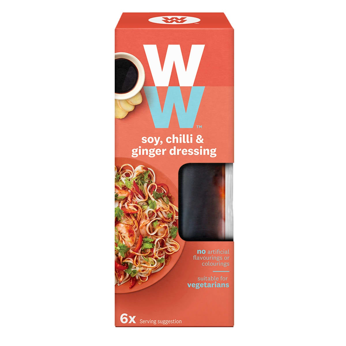 Box of 6 sachets, ZeroPoints™ Asian-inspired WW soy, chilli and ginger dressing, instant flavor booster, suitable for vegetarians