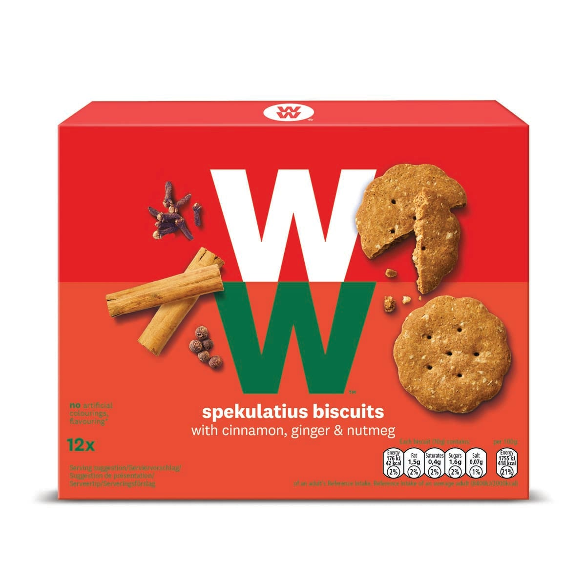 Box of 12, WW Spekulatius Biscuits, cinnamon, ginger and nutmeg, made with wheat, fava bean and oat flour, 1 SmartPoints value, suitable for vegetarians