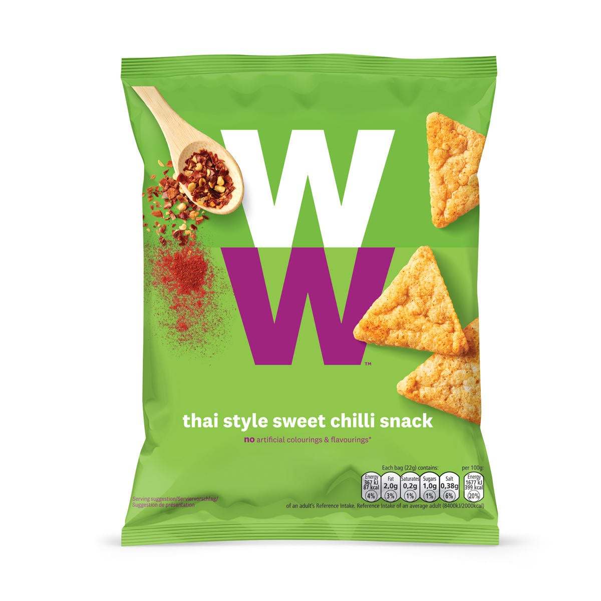 WW Crunchy potato based snack, Thai style sweet chilli flavour, baked not fried, only 2 SmartPoints values per bag, light and tasty, suitable for vegetarians