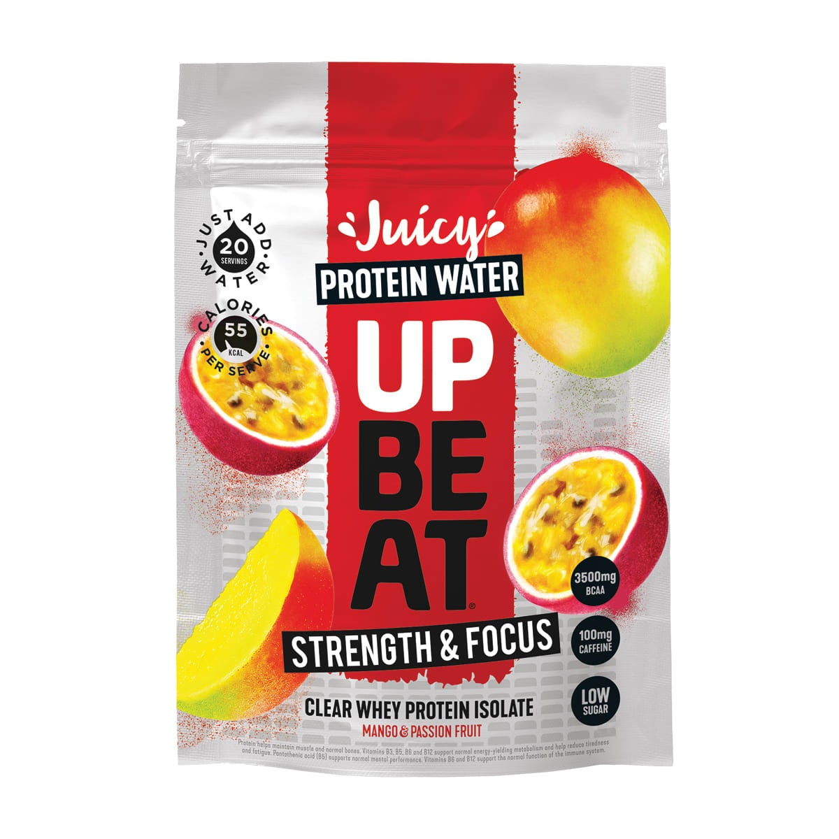 Upbeat - Strength & Focus Pouch, 20 servings, protein drink, mango and passionfruit flavour, just add water, added vitamins, gluten free, suitable for vegetarians