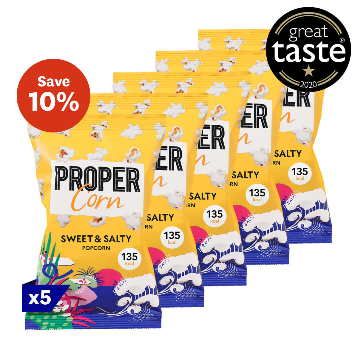 Pack of 5, Propercorn Sweet and Salty Popcorn, 30g bag, sea salt and sweet raw cane sugar, 5 SmartPoints values per bag, gluten free, suitable for vegans