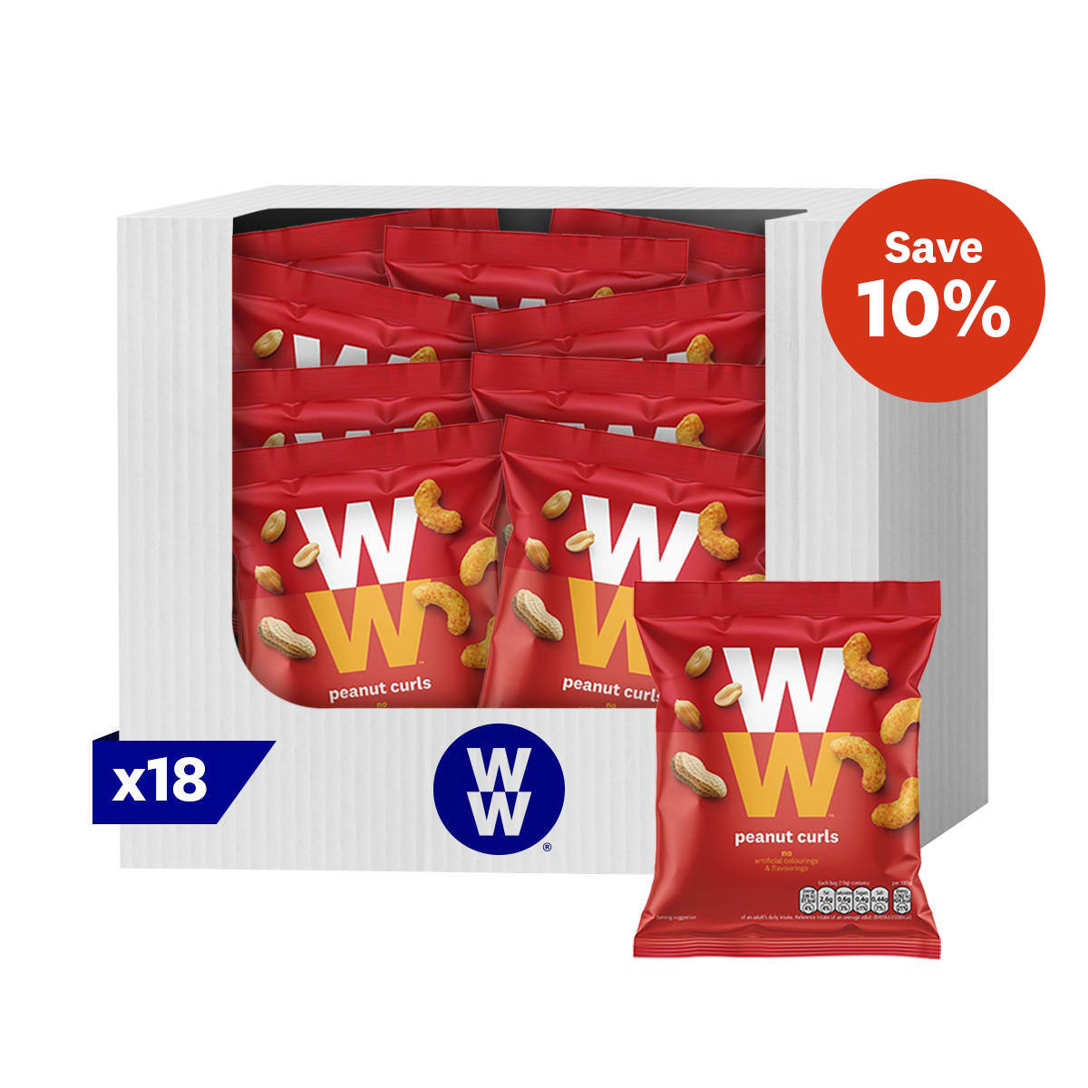 Box of 18, crispy maize WW Peanut Curls, on-the-go snack, crunchy, 2 SmartPoints values, suitable for vegetarians