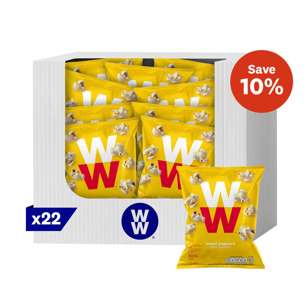 Box of 22, WW Sweet Popcorn, great alternative to higher SmartPoints options, 2 SmartPoints values per bag, suitable for vegetarians, gluten free