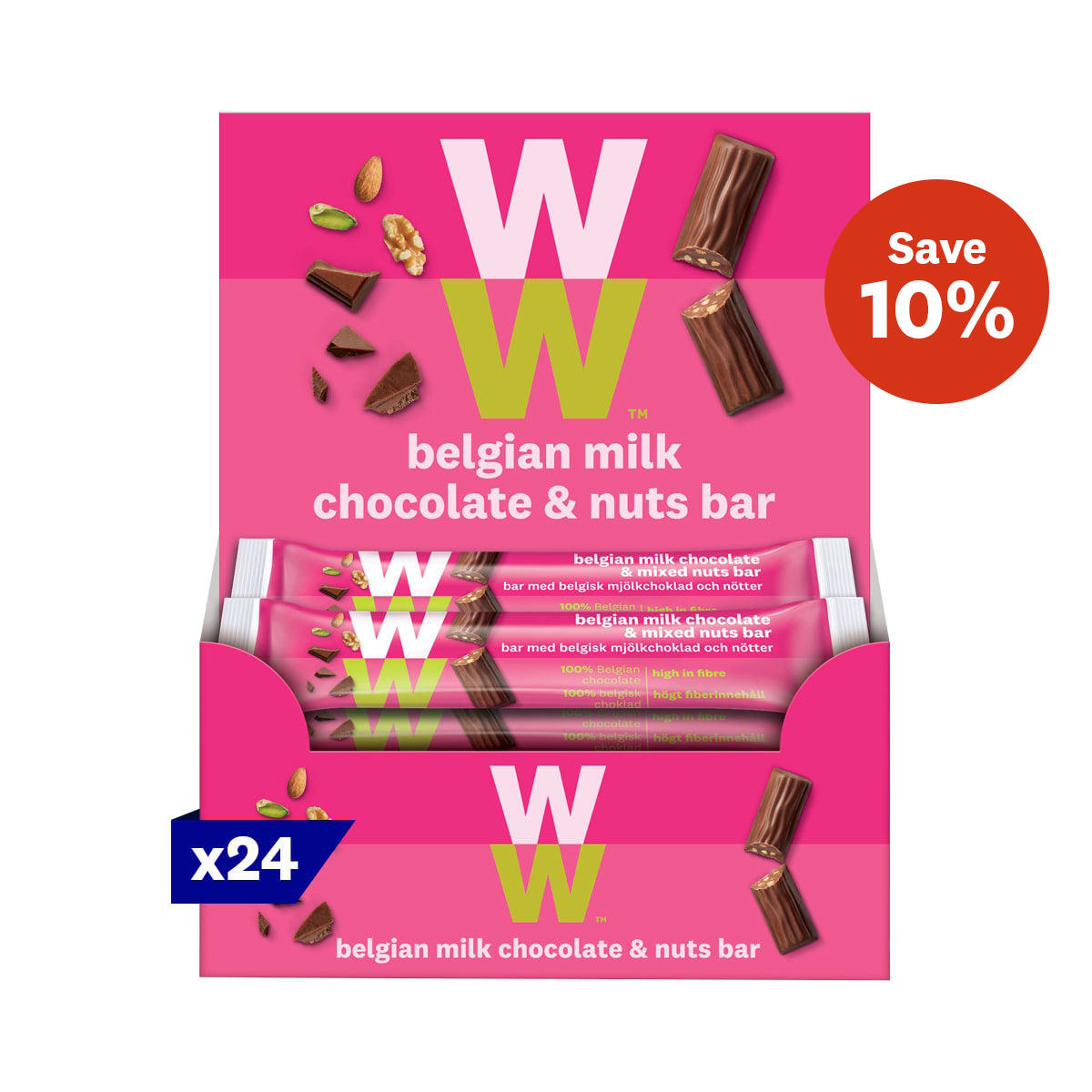 Box of 24, WW Belgian Milk Chocolate and Mixed Nuts Bar, smooth and creamy milk chocolate, roasted and chopped nuts, 3 SmartPoints values, suitable for vegetarians, gluten free