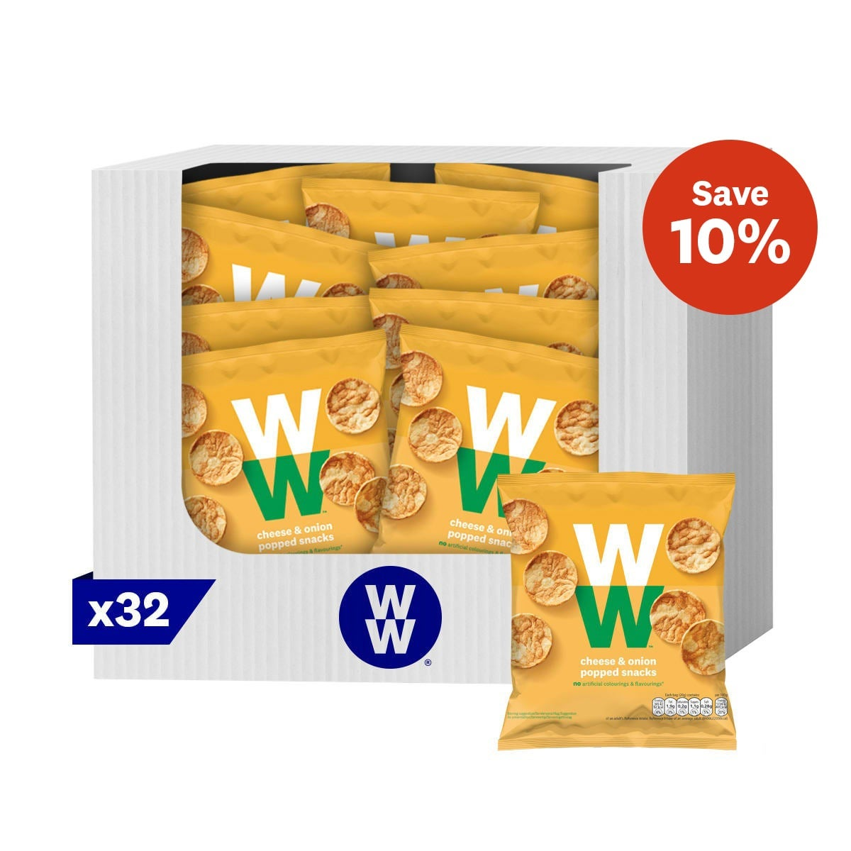 Box of 32, classic flavour tangy cheese and sweet onion savoury snacks, soya and chickpea, baked not fried, 2 SmartPoints values per bag, suitable for vegetarians