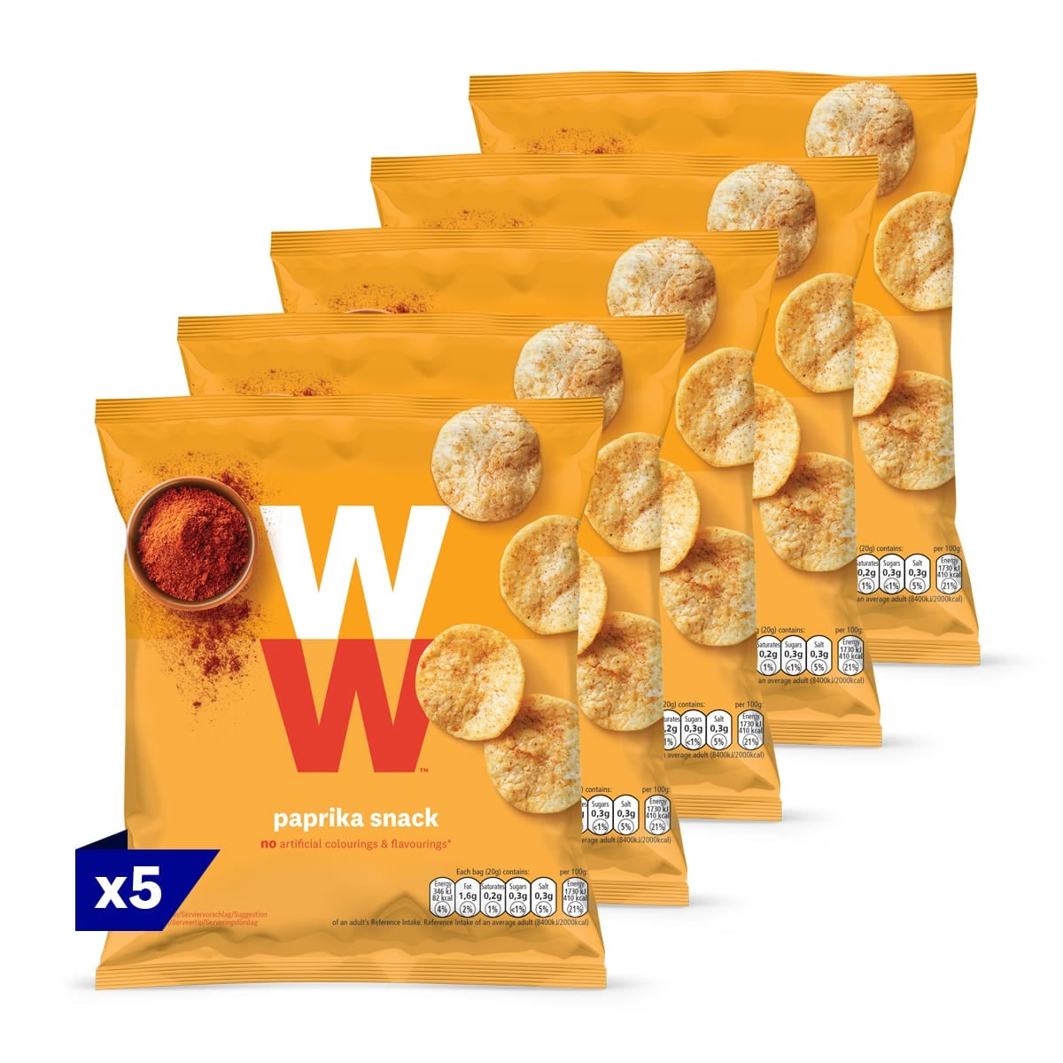 5 pack, WW Crunchy potato based snack, paprika flavoured, baked not fried, only 2 SmartPoints values per bag, light and tasty, suitable for vegans