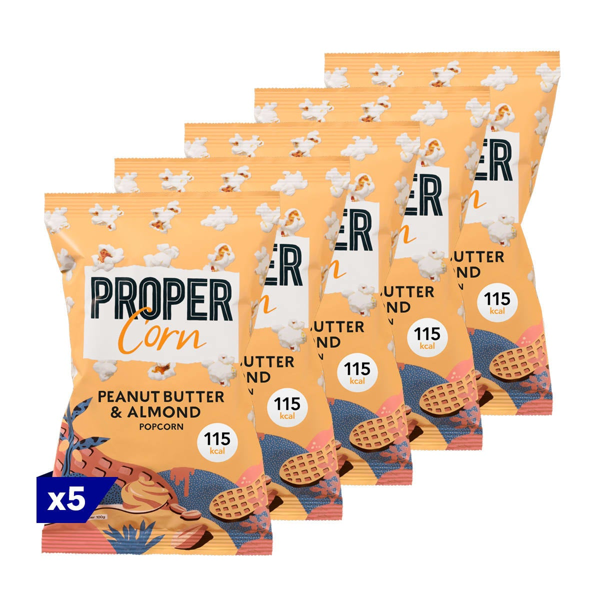 Pack of 5, Propercorn Peanut Butter and Almond Popcorn, 25g bag, smooth blend of peanut and almond, 4 SmartPoints values per bag, gluten free, suitable for vegans