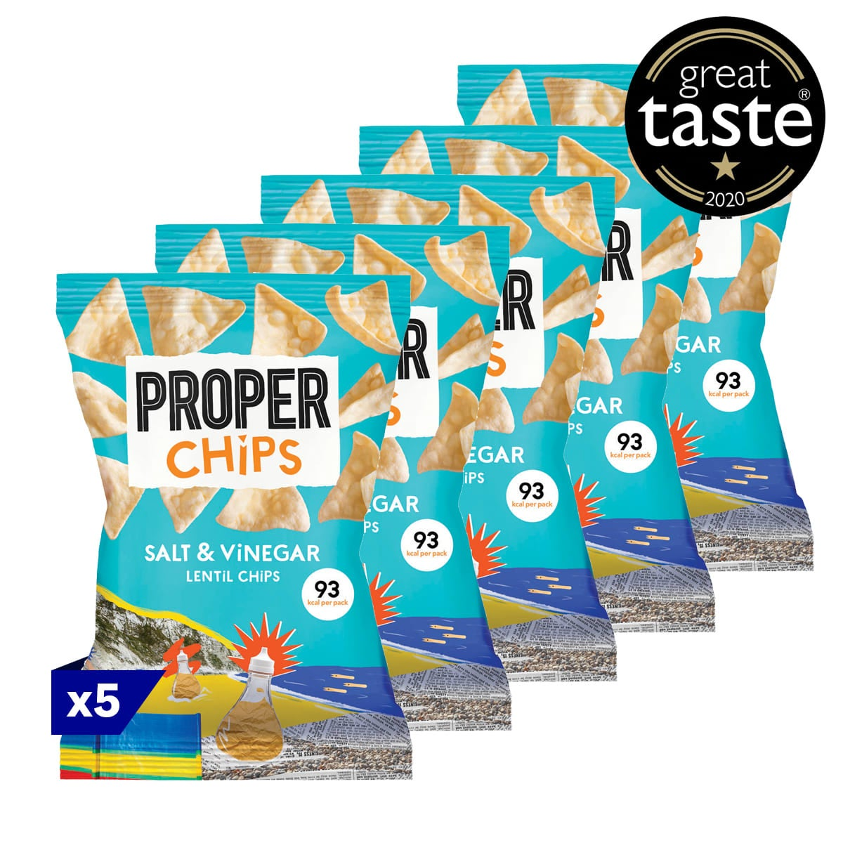 Pack of 5, Salt & Vinegar Properchips, 20g bag, lentil chip, apple cider vinegar, sea-salted, 3 SmartPoints values, gluten free, suitable for vegans