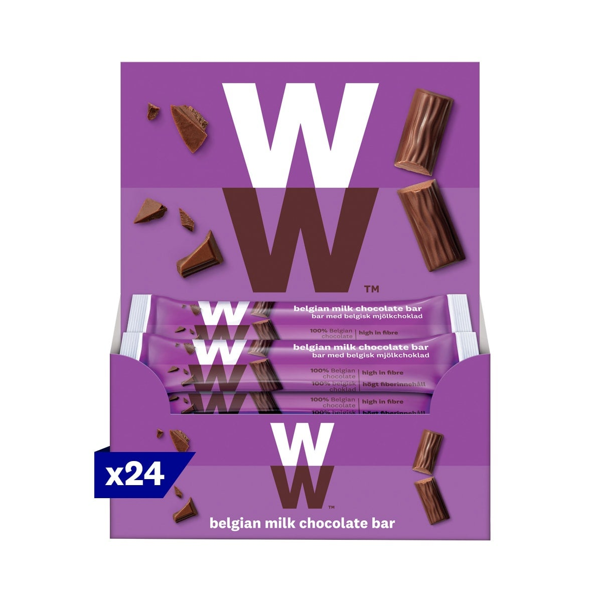 Box of 24, WW Belgian Milk Chocolate Bar, smooth and creamy milk chocolate, 3 SmartPoints values, suitable for vegetarians, gluten free