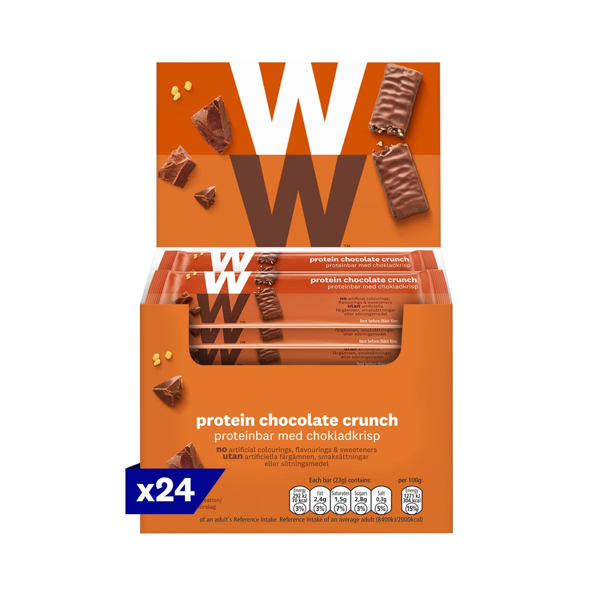 Box of 24, WW Protein Chocolate Crunch Bar, wrapped in velvety milk chocolate, 2 SmartPoints values, high in protein, suitable for vegetarians