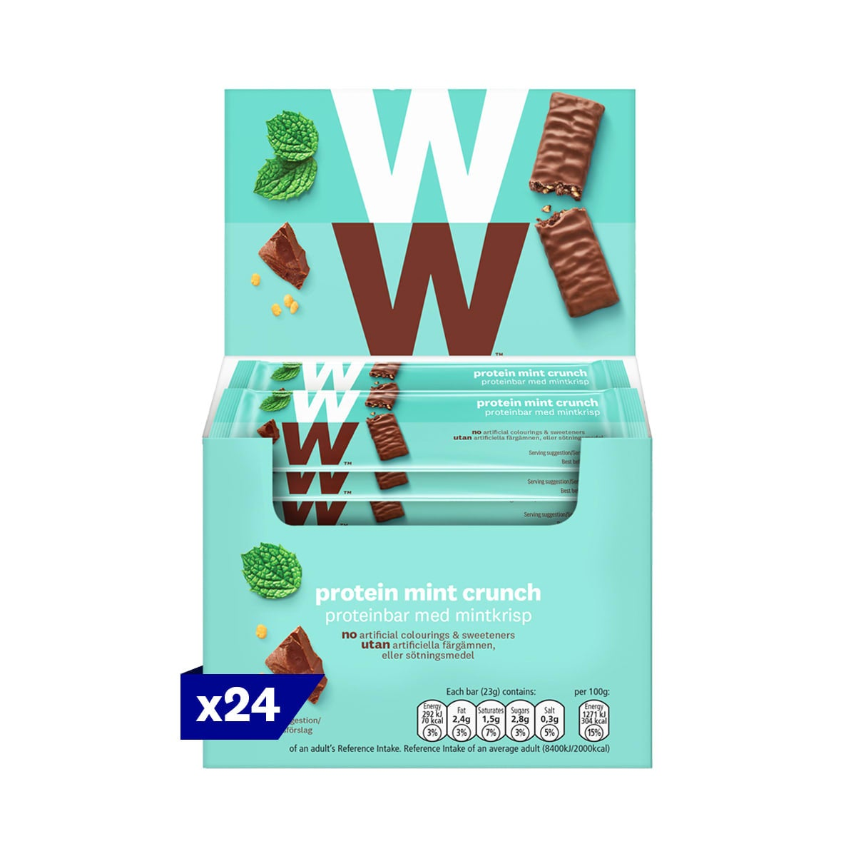 Box of 24, WW Protein Mint Crunch Bar, wrapped in velvety milk chocolate, 2 SmartPoints values, high in protein, suitable for vegetarians