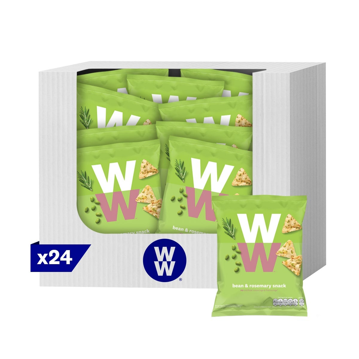 Box of 24, WW Rosemary Crisps, crunchy popped chickpea and bean snack with a rosemary flavour, 2 SmartPoints values per bag, suitable for vegetarians