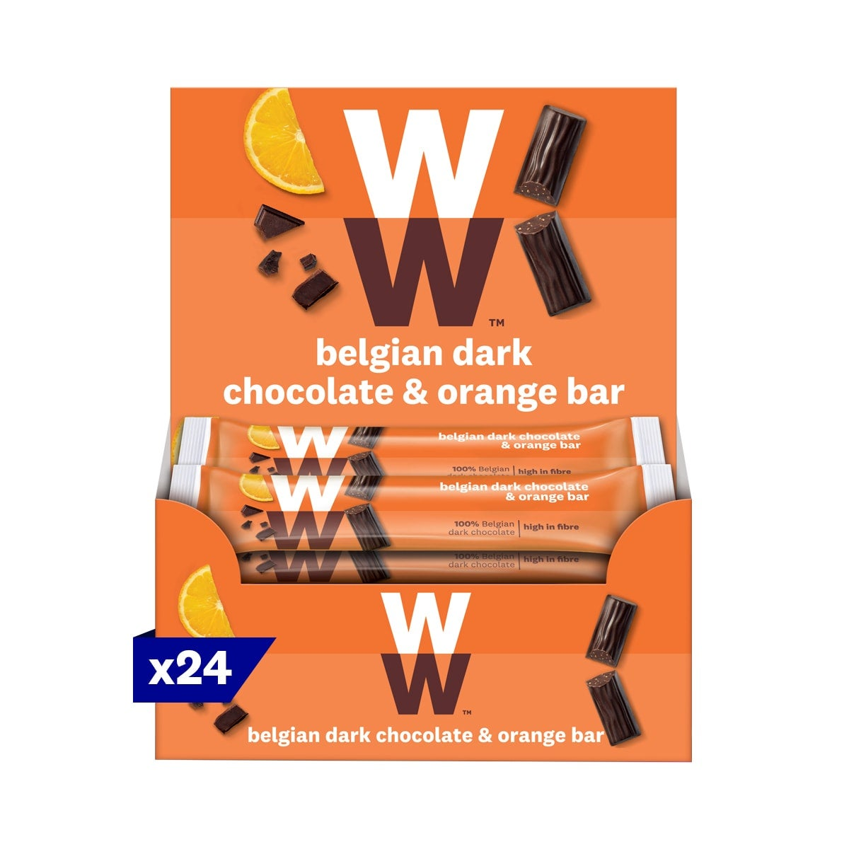 Box of 24, WW Belgian Dark Chocolate and Orange Bar, velvety smooth dark chocolate, dried orange pieces, 3 SmartPoints values, suitable for vegetarians, gluten free