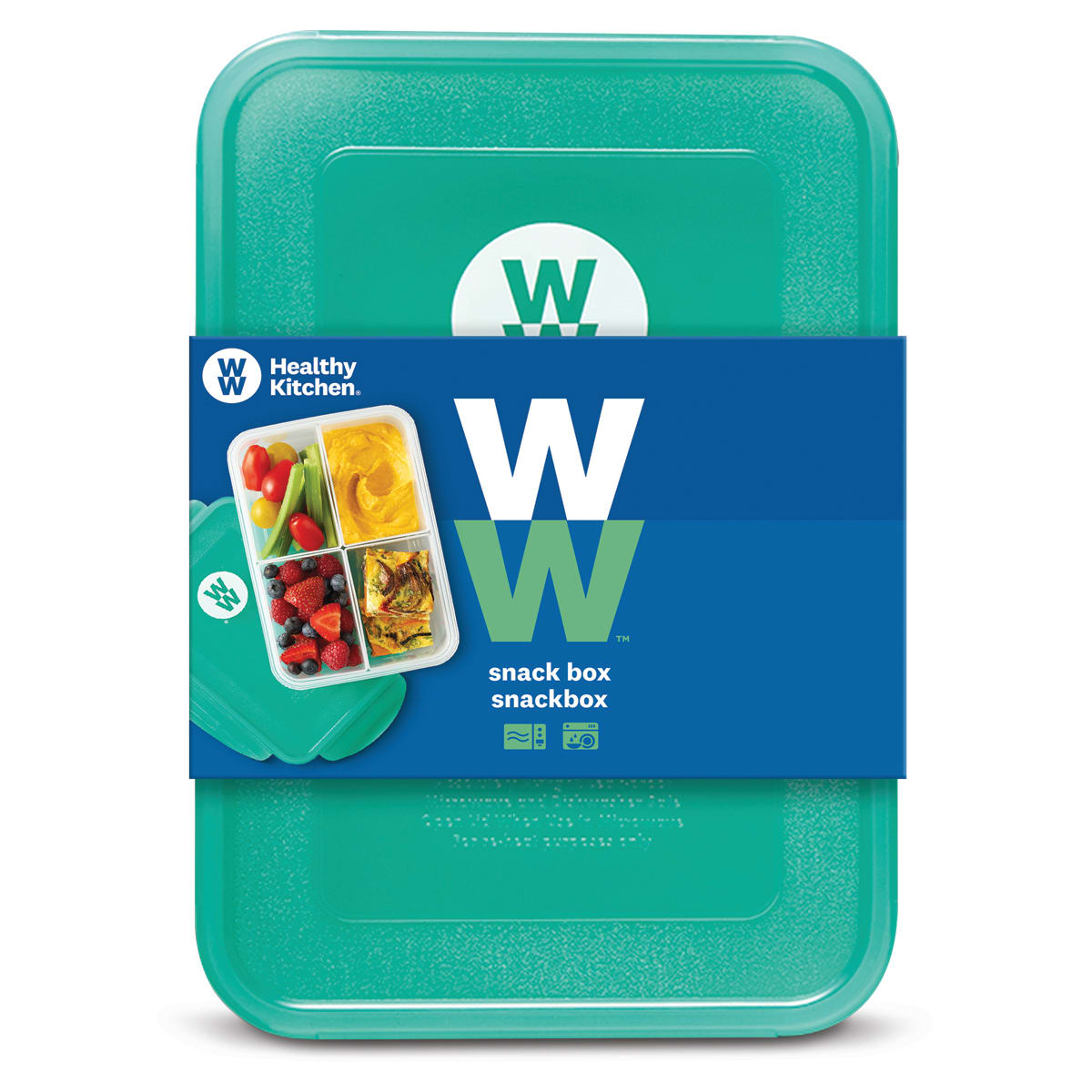 WW Snack Box, removable dividers to separate snack combinations, suitable for use in freezer and microwave, dishwasher safe, size: 22x15, 5x7cm, capacity: 1.5L